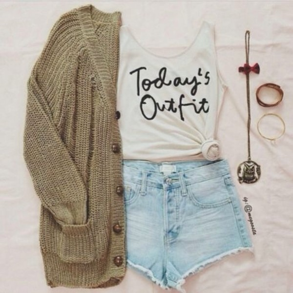 skirt todays outfit' tumblr black white tie tank top sweater cardigan
