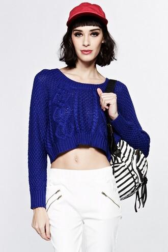 blue sweater sweater cropped sweater sweater crop top blue crop sweater cable knit sweater cable knit crop sweater