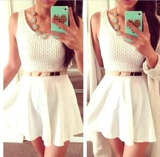 dress white dress mini short gold belt
