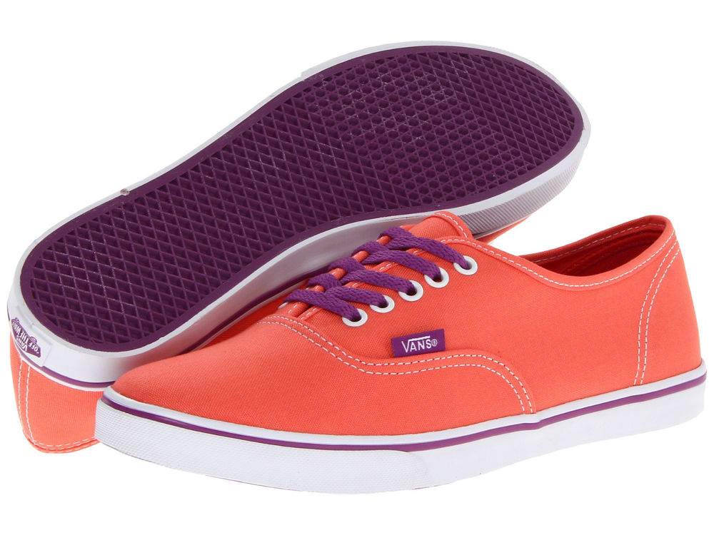 Vans Authentic Low Pro Pop Persimmon Sparkling Grape White Women Shoes | eBay