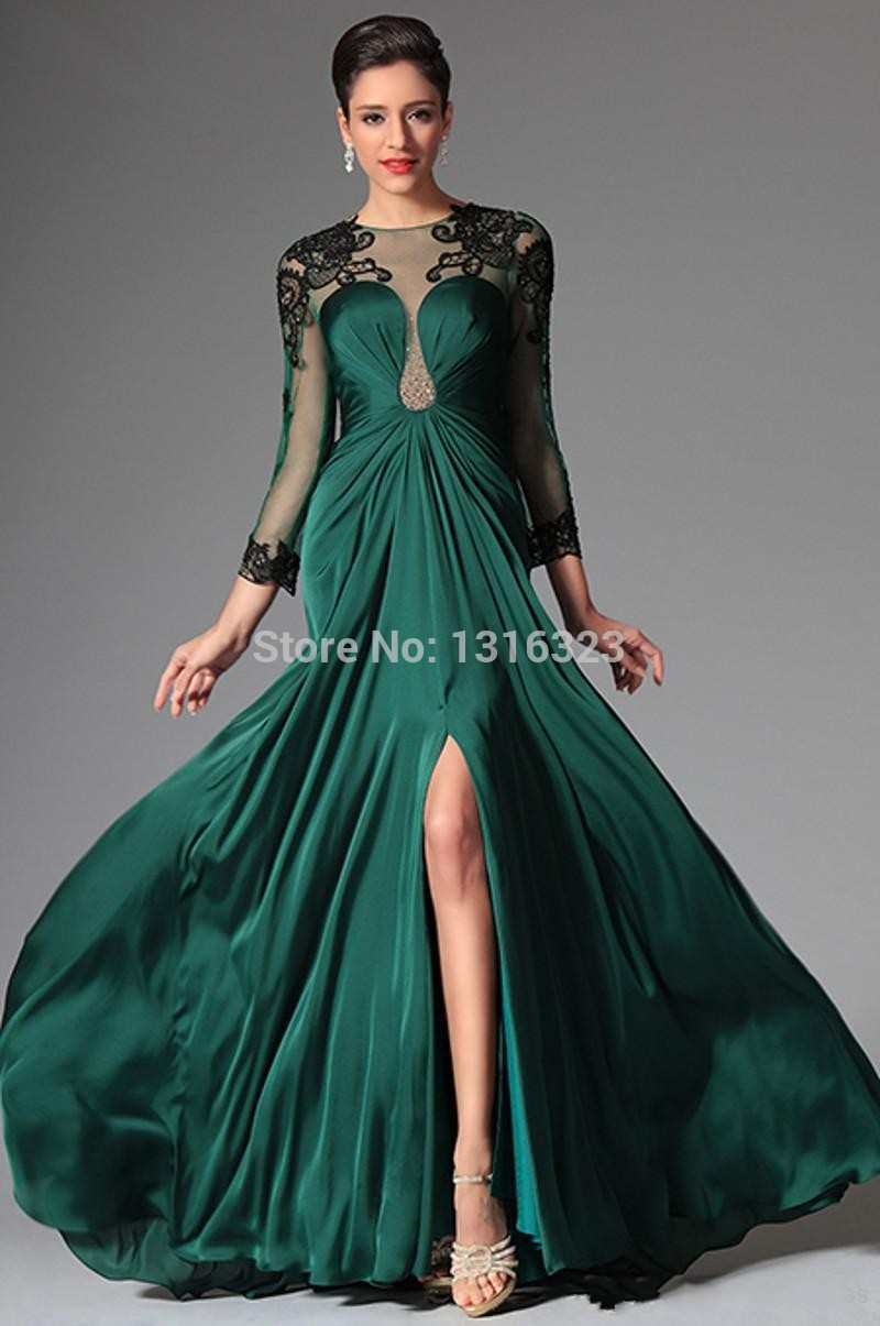 Aliexpresscom Buy Emerald Illusion Long Sleeve 2014 Evening