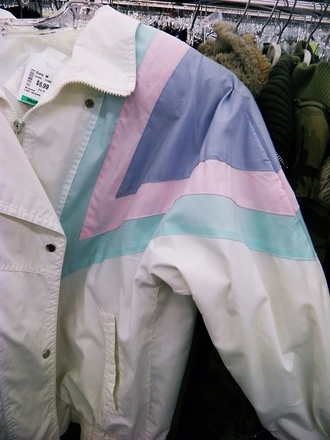 jacket vintage bomber jacket white windbreaker pink green clothes girl coat raincoat mac raincoat parker