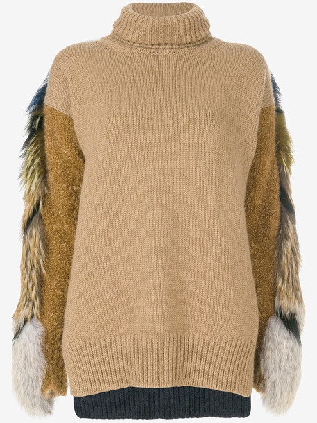 Agnona jumper hair fur fox women wool brown camel sweater
