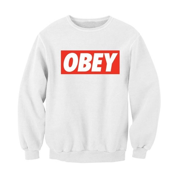 OBEY Graffiti Tag Sweatshirt Sweater Jumper Top Hoody Hoodie... - Polyvore