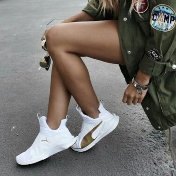 shoes, puma, white, gold, high top