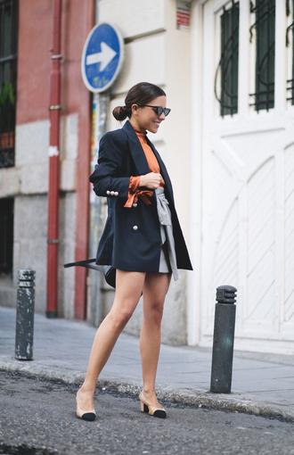 jacket tumblr blazer black blazer skirt asymmetrical skirt asymmetrical mini skirt grey skirt shoes slingbacks sunglasses top turtleneck
