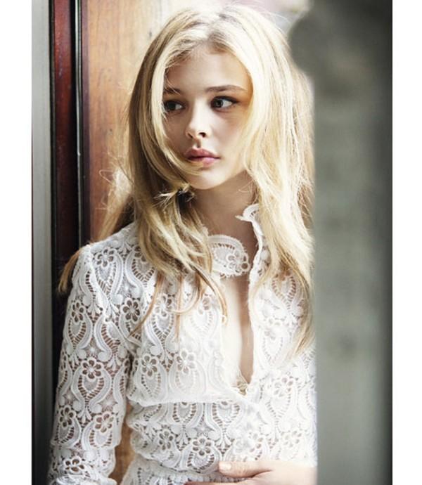 blouse shirt lace white floral chloe grace moretz chloe grace moretz beautiful