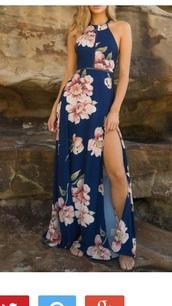 dress,navy,floral,maxi dress,open back,leg slit