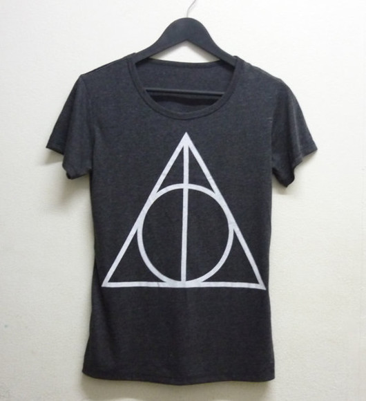 t-shirt black t-shirt harry potter deathly hallows rock fashion pop punk magic