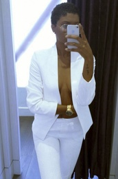 jacket,suits,pants,white,tailored suit,suit,coat,blazer,matching set,sunglasses,glasses,vintage glasses,clear glasses,oversized glasses,jumpsuit,short hair,shirt,white pants,blouse,jeans,white jeans,white blouse