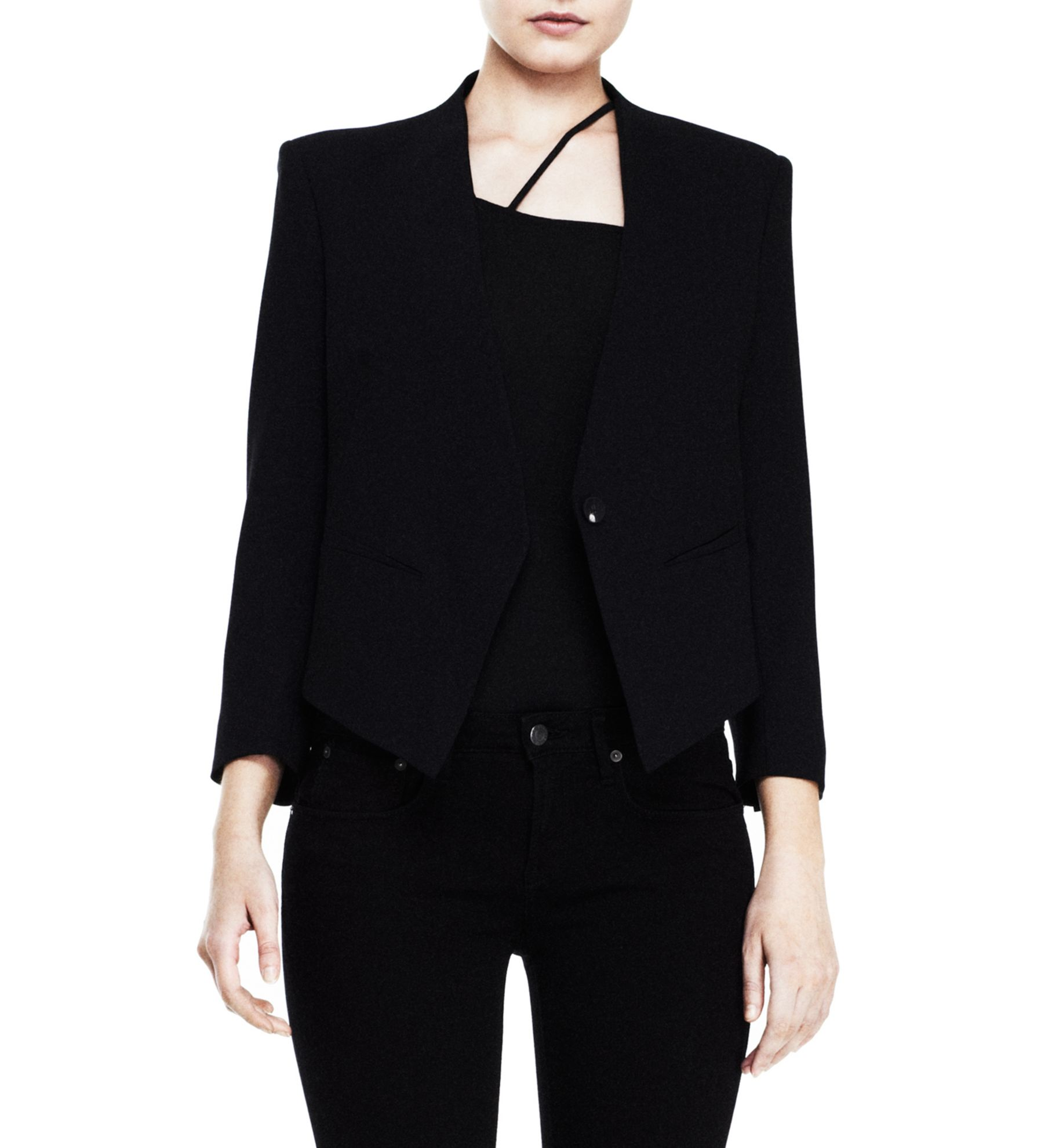 WOMEN'S JACKET - SMOKING WOOL TUXEDO BLAZER - HELMUTLANG.COM