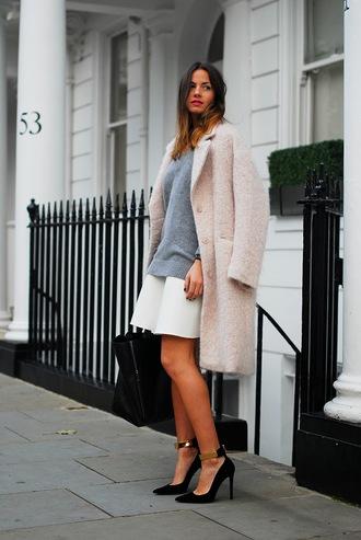 fashion vibe coat sweater bag shoes skirt