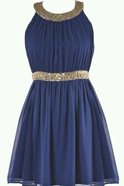 dress blue chiffon short dress