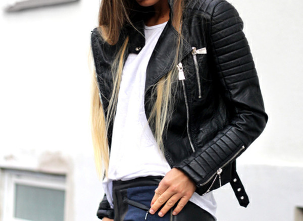 Veste cuir noir femme mango