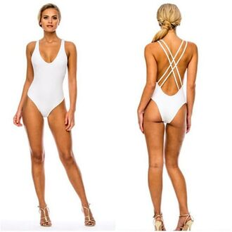 swimwear one piece white swimwear one piece swimsuit beach miami straps high heels gold shoes hot criss cross