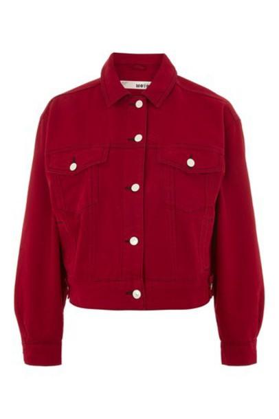 Topshop jacket denim jacket denim red