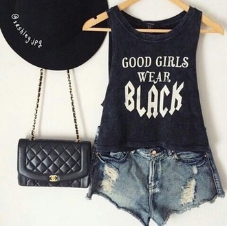 shirt black blue dark blue dark blue shirt quote on it black shirt top tank top short shorts denim jeans denim shorts distressed denim shorts ripped shorts bag leather bag chanel chanel bag black bag dark blue baf hat black hat cool cool style style fashion summer summer outfits quote on it shirt