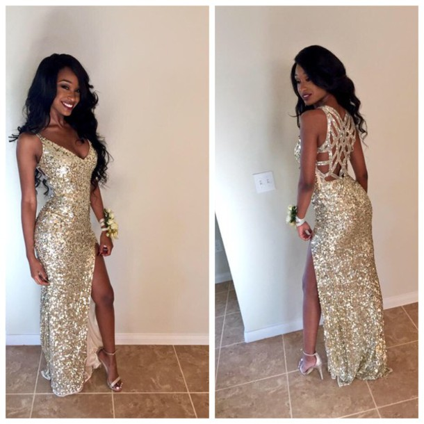 Aliexpress.com : Buy Sparkly Sequins Prom Dresses V neck Criss Cross ...