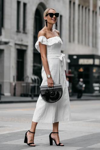 fashionjackson blogger jumpsuit shoes bag sunglasses jewels off the shoulder cult gaia bag sandals high heel sandals white jumpsuit summer outfits