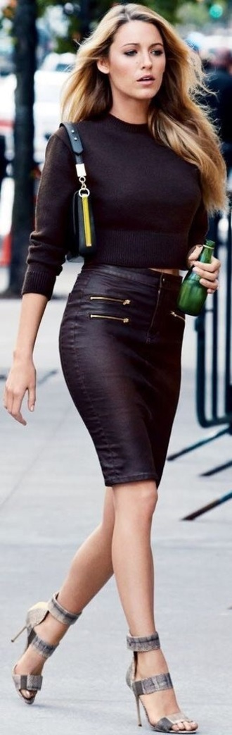 skirt blake lively leather skirt black leather zippered shirt tall girls leather pencil skirt pencil skirt dark brown crop top crop tops grey stilettos ankle strap heels shoulder bag