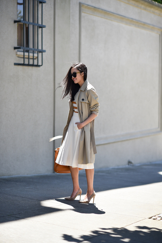 skirt tumblr office outfits midi skirt white skirt coat trench coat pumps pointed toe pumps high heel pumps bag top
