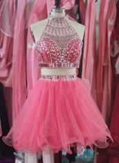 dress,tidetell dress,short,homecoming dres,short homecoming dress,high neck homecoming dress,beaded,beaded homecoming dress,short prom dress,party dress,hot pink,crystal