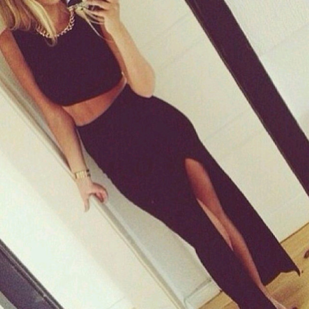skirt black maxi skirt crop tops wheretoget