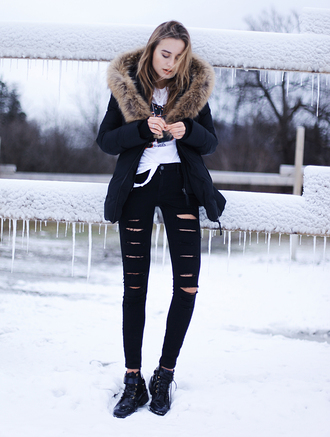 class is internal blogger black jeans ripped winter coat winter outfits coat black ripped jeans