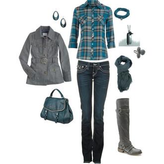 scarf boots bag jacket ring earrings braclets earphones blouse jeans jewels