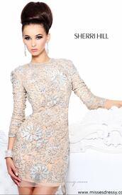 dress,sherri hill,sherri,hill,sequins,short,nude,silver,glitter,tight,fitting,flowers,rhinestoned,party,prom