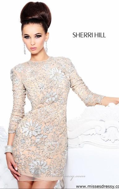dress sherri hill sherri hill sequins short nude silver glitter tight fitting flowers rhinestoned party prom