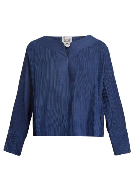 THIERRY COLSON top pleated cotton navy