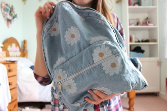 bag cute backpack flowers blue jeans