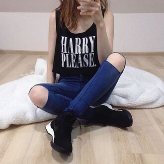 tank top jazrox harry please one direction one direction tees black crop tops crop cropped trendy girl girly summer kawaii hipster style quote on it vintage swag dope boho sexy cute hippie grunge tumblr classy fashion neon cool indie pretty denim urban short beautiful beach pastel streetwear instagram hot warm glitter alternative streetstyle love stylish all black everything spring tumblr girl pale preppy comfy chic oversized goth