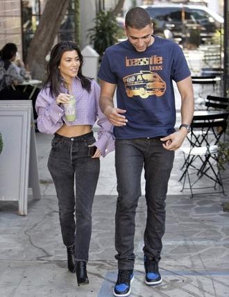 shirt blouse jeans kourtney kardashian kardashians cropped crop tops plaid lilac