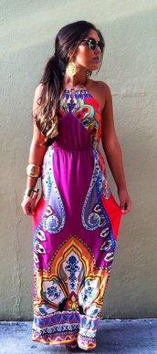 dress,colorful,ethnic,aztec,spring,long dress,no shoulders