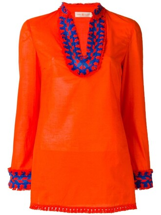 top tunic embroidered women cotton yellow orange