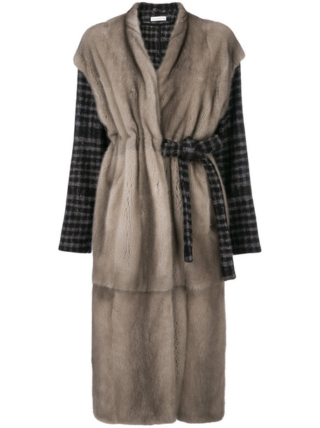 Inès & Maréchal coat fur women silk grey