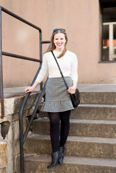 somethinggood blogger sweater skirt shoes tights crossbody bag ankle boots white sweater