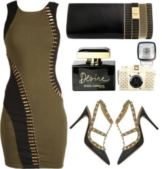 dress studded dress bodycon olive green military green