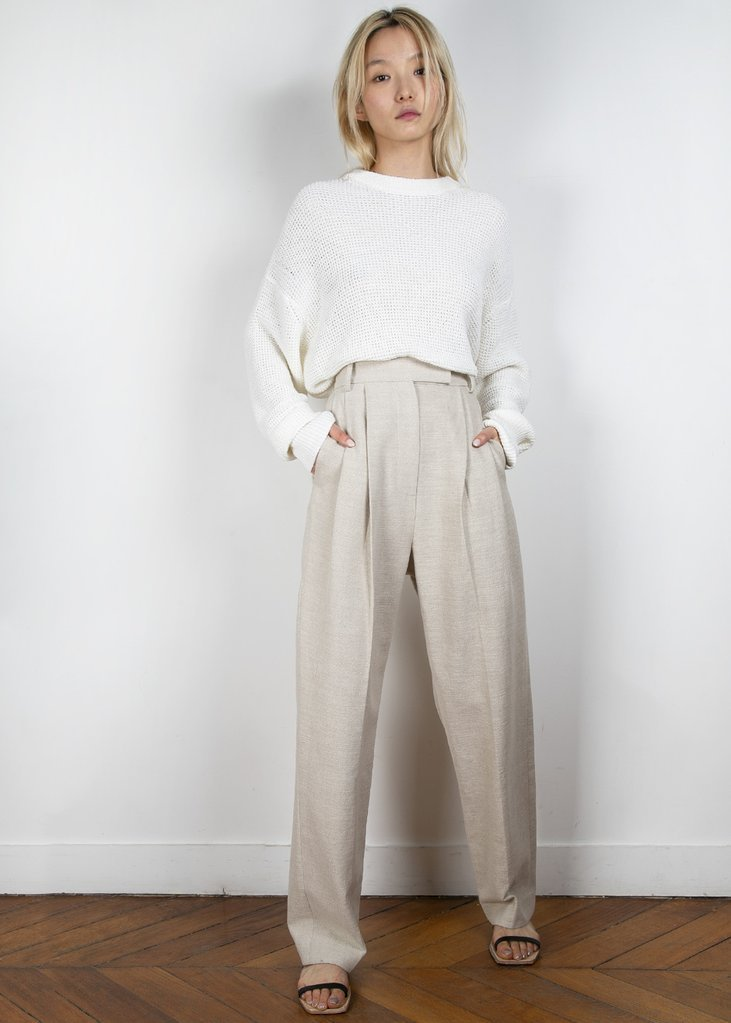 Pleated Linen Blend Pants in Sand