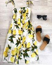 dress,nouveau riche boutique,lemon,lemon dress,lemon print,midi,boutique,summer,fashion,summer dress,yellow,white