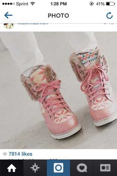shoes fall outfits cute boots fall boots pink winter boots aztec tribal pattern snowflake soft furry boots
