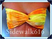 swimwear,bandeau,spandex,spandexbandeau,spandex bandeau,orange,bikini,yellow,bandeau bikini