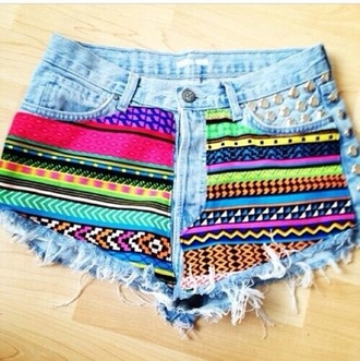 shorts tribal pattern studded light blue purple yellow aztec rainbow neon high waisted shorts jeans colors denim colorful shorts