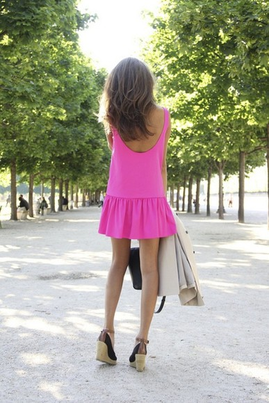 dress pink short dress cute dress summer outfits pink dress flirty neon peplum shift dress