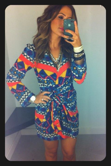 dress aztec tribal print dress tribal pattern tribal print long sleeve dress aztec dress tribal cross body dress wrap dress mini dress midi dress
