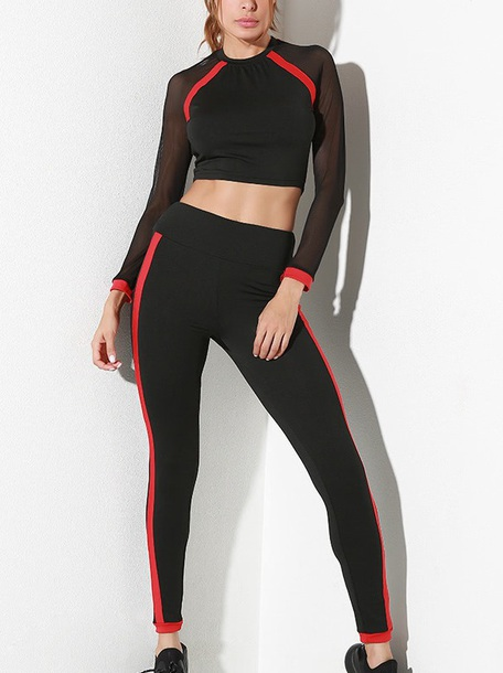 jumpsuit girly leggings two-piece black red mesh workout workout leggings crop tops crop cropped