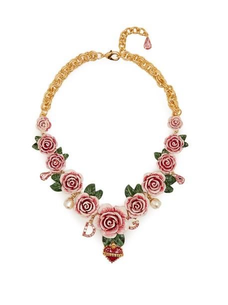 rose embellished necklace gold jewels