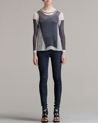 Helmut Lang Leather Leggings, Midnight - Neiman Marcus